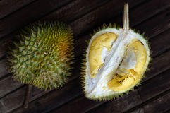 Durian fresh yellow  fruit on wooden background.  Stock Image