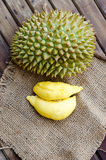Durian fresh yellow  fruit on wooden background Royalty Free Stock Images