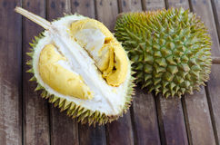 Durian fresh yellow  fruit on wooden background.  Royalty Free Stock Images