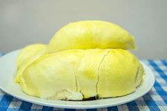 Durian fruit on plate. Durian fruit, regarded by many people in southeast Asia as the king of fruits Stock Image