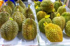Durian fruit for sale in the local market. stock photo
