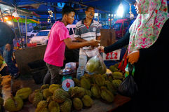 Durian fruit trader Stock Image
