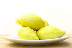 Durian fruit in white plate Stock Photo