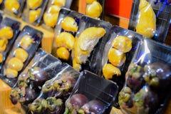 Durian fruitpak, mangostan Royalty-vrije Stock Afbeeldingen
