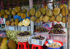 Durian fruits and mangosteens at the market Royalty Free Stock Photography