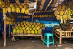 Durian fruits street market stall, Sumatra, Indonesia Royalty Free Stock Images