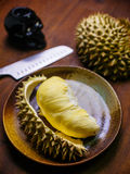 Durian king of fruit set on table Stock Image