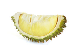 Durian, the king of fruits. A durian is a big fruit with a strong smell and a hard shell with sharp thorns. Its flavour is loved by some people, especially in Royalty Free Stock Photo