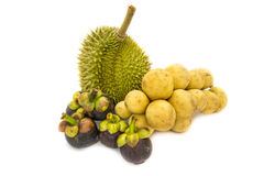Durian King of fruits and Mangosteen queen of fruits and Wollongong delicious fruit or Longkong fruit or Lansium parasiticum. In plate is tropical fruit in Royalty Free Stock Photos