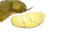 Durian, Koning van Vruchten isoleerde/Durian, Koning van Vruchten op witte achtergrond/Durian, Koning van Vruchten met het Knippe stock afbeelding