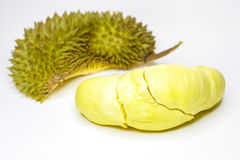 Durian konung av frukter/Durian, konung av frukter på den vita bakgrund/durianen, konung av frukter med den snabba banan Royaltyfri Bild