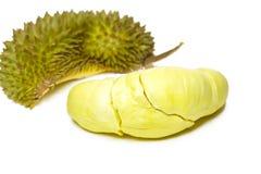 Durian konung av isolerade/Durian frukter, konung av frukter på den vita bakgrund/durianen, konung av frukter med den snabba bana Arkivfoto