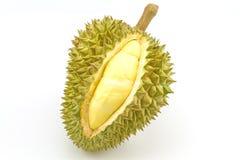 Durian maduro y parte con los puntos en el fondo blanco Imágenes de archivo libres de regalías