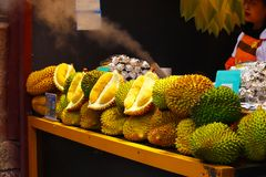 A stand of Durian at the market in Lijiang, Yunnan, China stock image