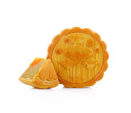 Durian Mhonthong Mooncake With Egg isolated on white background.  Stock Photos