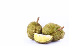 Durian  mon thong is king of fruits durian and  durian peeled fruit plate tropical durian on white background healthy durian fruit Royalty Free Stock Images