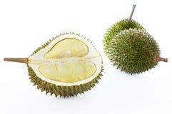 Durian op witte achtergrond Stock Foto's