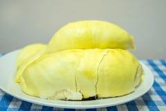 Durian owoc na talerzu Obraz Stock