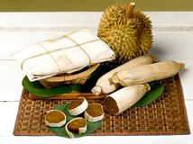 Durian and  preserved durian fruit Royalty Free Stock Photography