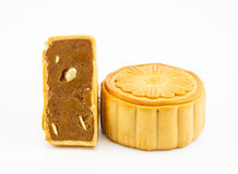 Durian pulp with lotus seed  filled moon cake on white backgroun Royalty Free Stock Images