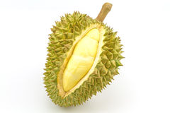 Durian reif und Teil mit Spitzen auf weißem Hintergrund Lizenzfreie Stockbilder