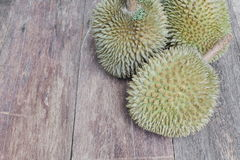 Durian ripe fruit  which has thorn on the wood  background Stock Image