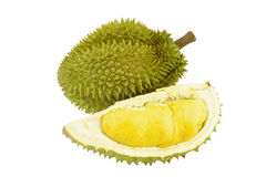Durian ripe and part with spikes isolated Stock Photo