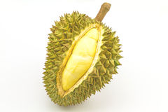 Durian ripe and part with spikes isolated on white background Stock Images