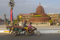 Durian roundabout at Kampot. In Cambodia, Asia Royalty Free Stock Photos