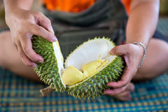 Durian sell in Thai market Royalty Free Stock Photo