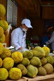 Durian shop in Lijiang old town, Yunnan, China stock image