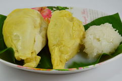 Durian and sticky rice dressing coconut milk Stock Photo