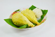 Durian and sticky rice dressing coconut milk Royalty Free Stock Photos