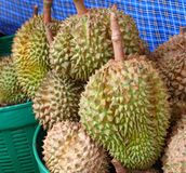 Durian on street market Stock Photo