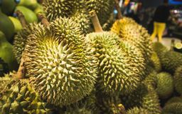 Durian in supermarket background. Durian is King of Tropical fruit, It has combination of sweet and creamy taste with strong smell stock images