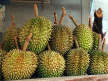 Durian on the table Stock Photo