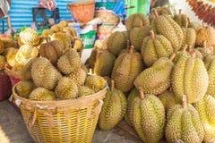 Durian Thailan exotisk för tropiska frukter på gatan Bangkok Arkivbilder