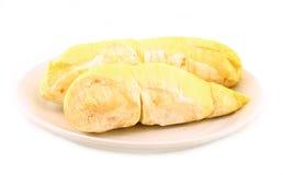 Durian (Thaise Monthong Durian) op wit Royalty-vrije Stock Afbeeldingen