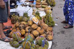 Durian in the traditional market royalty free stock images