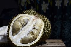 Durian Tropical Fruit cut in half wide open isolated on dark background. portrait. Durian Tropical Fruit Durio cut in half wide open isolated on dark background Stock Image