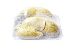 Durian (Thaise die Monthong Durian) in pakket, met het knippen van wegen wordt geïsoleerdr Stock Foto
