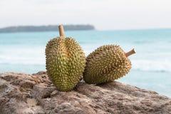 Durian zwei auf dem Klotz Lizenzfreie Stockbilder