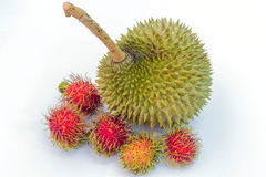 Durianandrambutan. Many fruits in Thailand is very delicious and so sweety royalty free stock photo