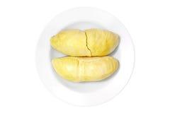 Durianen (thailändsk Monthong Durian) i vit pläterar, isolerat med snabba banor Royaltyfri Fotografi