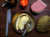 Duriankoning van fruitreeks op lijst Royalty-vrije Stock Afbeelding
