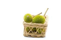 Durians da vista dianteira na cesta Imagens de Stock Royalty Free
