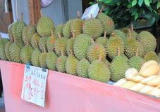 Durians display Stock Images