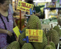 Durians on sale. Durian fruit on display in a store Stock Image