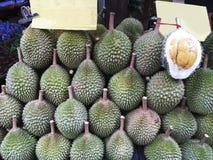 Durians sale on street market. Royalty Free Stock Photo