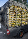 Durians in stock rack of truck/pickup. Stock Photos